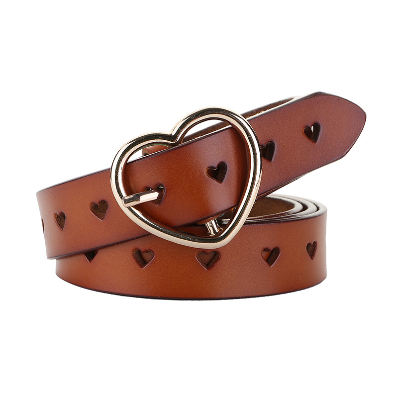 Genuine Leather Heart-shaped Cowskin Women Belts Brown Women's Jeans Belt