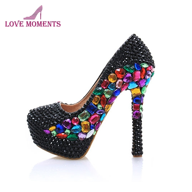Black Rhinestone Anniversary Party Shoes 14cm High Heel Mix Crystal Design  Handmade Bride Wedding Pumps Homecoming Prom Shoes 1d6e4fa74dbe