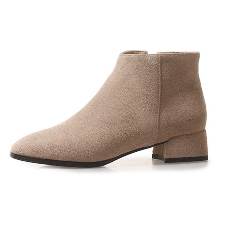 Med Causal Bout Femme Cheville Pointu Suede Chaussures Cr1647 Bottes black Noir Zipper Courtes Taille gray Beige 39 34 Enmayer D'hiver Talons Épais X7dq7O
