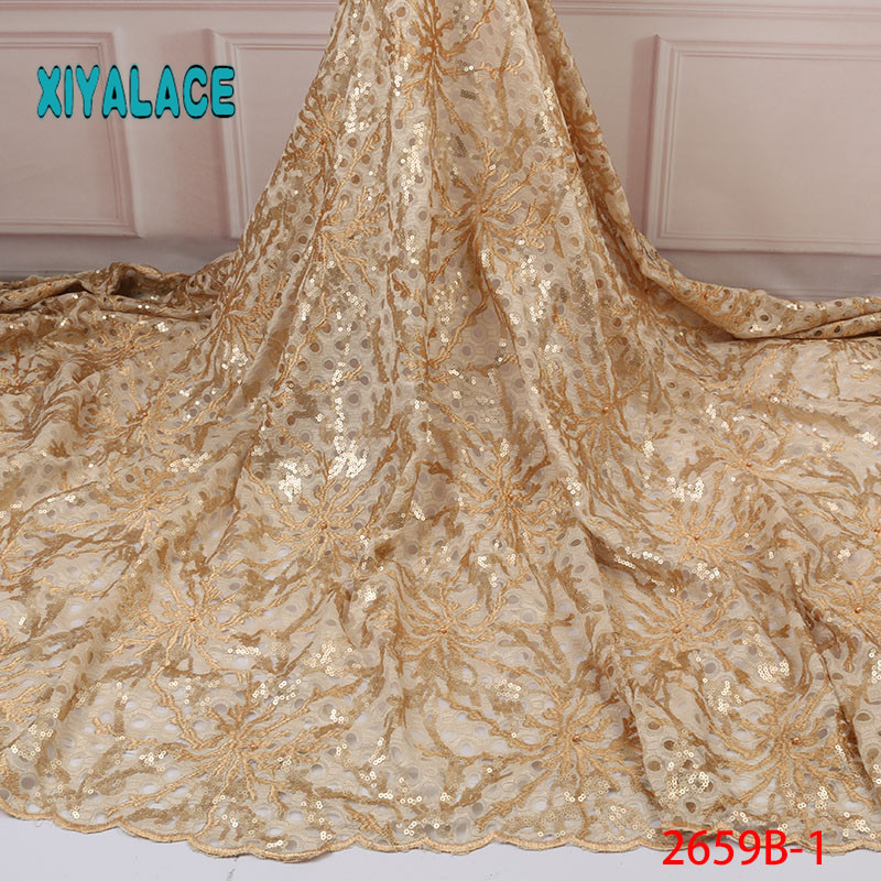 African Lace Fabric Luxury High Quality French Organza Lace Fabric 2019 New Arrival Sequins Lace Fabrics For Wedding YA2659B-1