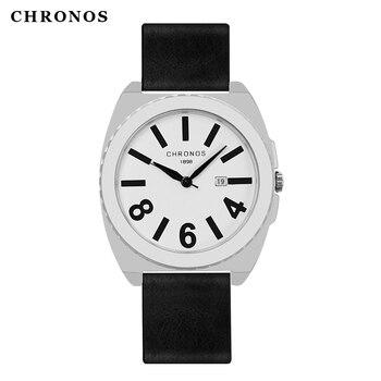 CHRONOS Men Simple Quartz Watch with Big Numeral Calendar Dial Leather buckle Strap Boys Fashion Leather Wristwatch CH24