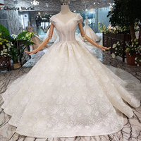 V neck wedding dress with weeding veil new material ball gown princess wedding gowns with train 3.28 Anniversary discount HTL299