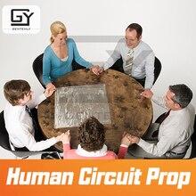Jogo de sala de escape prop de circuito humano segurar as mãos para abrir 12v ímã bloqueio câmara prop para sala de jogo de fuga mão na mão para desbloquear