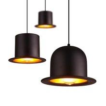 Современный краткое шапка личность дизайн одной головы подвесной светильник домашний Спальня деко Top Hat Черный алюминиевый E27 лампы светодио дный освещения