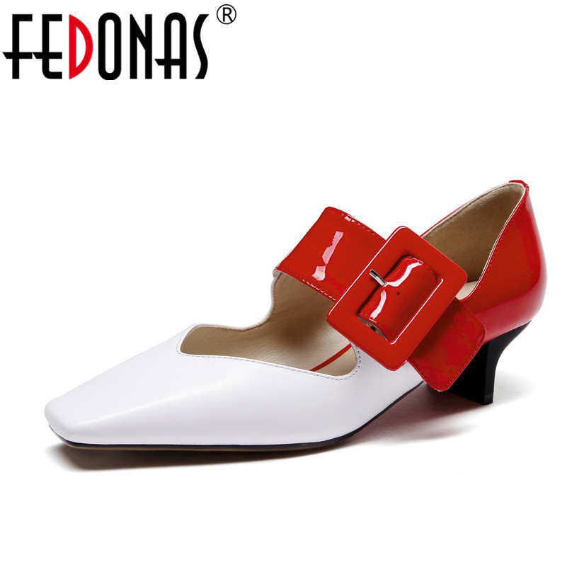 FEDONAS Fashion Genuine Leather Shoes Woman Sweet Pumps Shallow Pointed Toe High Heels Shoes Party Spring Autumn Single Shoes цена