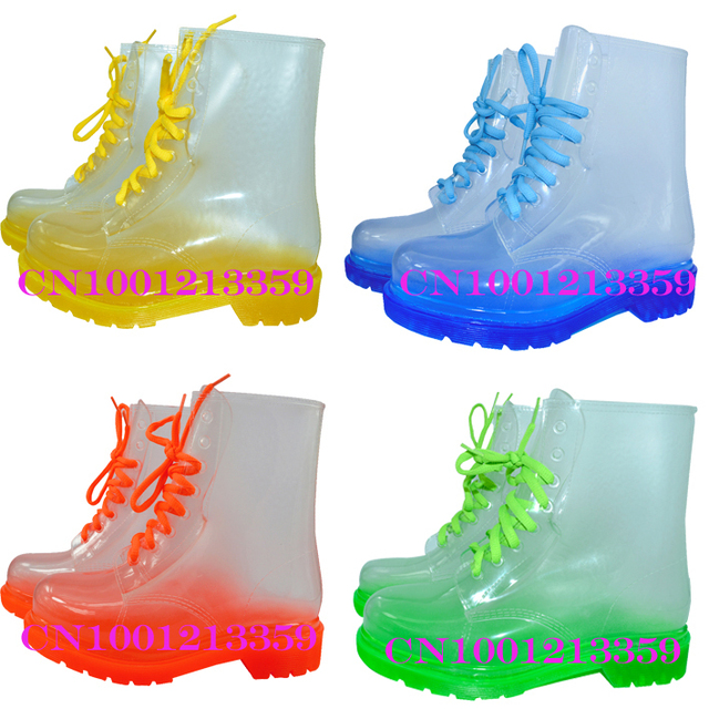 FREE SHIPPING 2013 PVC Transparent Womens Colorful Crystal Clear Flats Heels Water Shoes Female Rainboot Martin Rain Boots