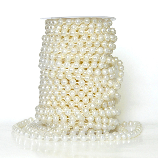 Free Shipping 50m Roll White Half Pearl Bead Garland Wedding Centerpiece Table Decoration Crafting