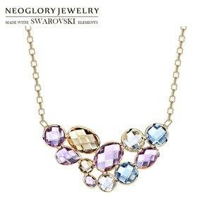 Image 2 - Neoglory collar largo con colgante de cristal austríaco para mujer, diseño geométrico colorido, Color dorado champán, regalo de marca