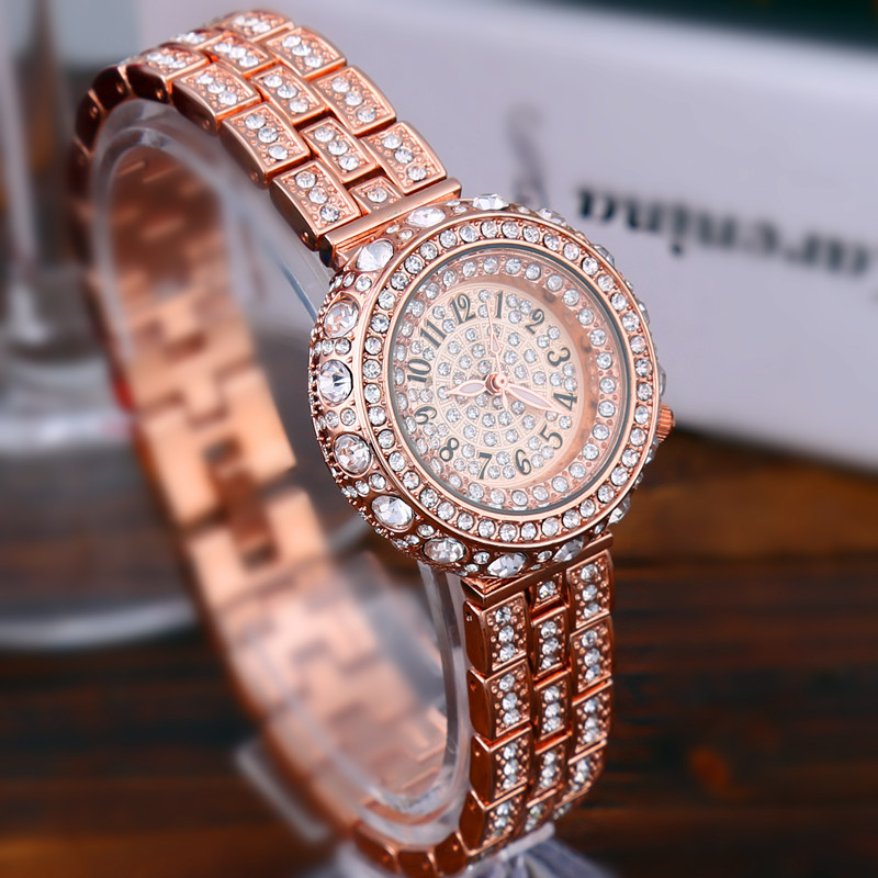 где купить GEDI Fashion Full Rhinestones Women Watches Luxury Brand Ladies Quartz Watch Women's Wrist Watch Relogio Feminino Hodinky XFCS по лучшей цене