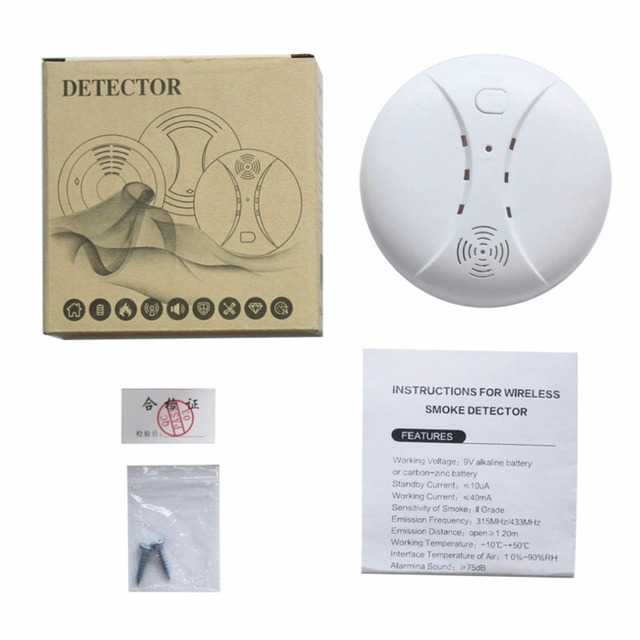 LESHP 433MHz Photoelectric Smoke Detector Home Security