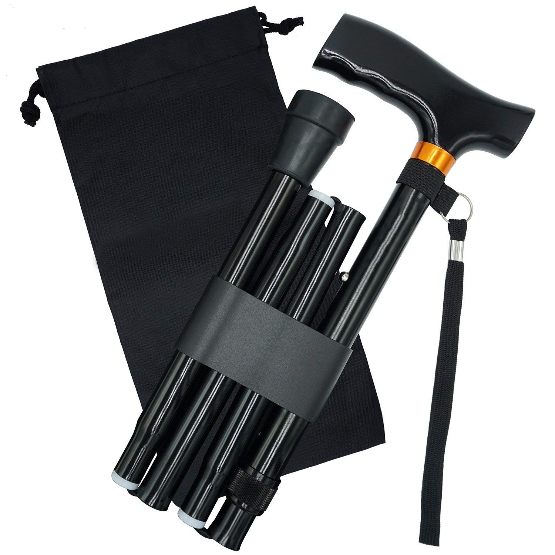 T Handle Telescopic Black Folding Walking Sticks Aluminum Alloy Crutches Trekking Cane  Hiking Poles Trekking Poles For Elder