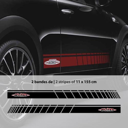 ФОТО Car side Mini John for Cooper Works stripes stickers set