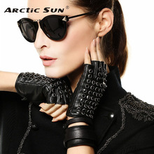 New Listing Women Leather Gloves Spring Summer Half Finger Mittens Fashion Punk Sheepskin With Rhinestones Driving Glove L116NN
