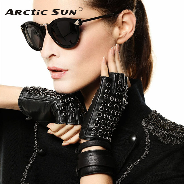 3daaa6fce New Listing Women Leather Gloves Spring Summer Half Finger Mittens Fashion  Punk Sheepskin With Rhinestones Driving Glove L116NN