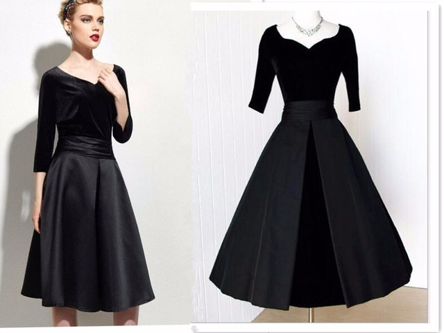 3adc6aa84d New Ladies 1950s 60s Apparel Half Sleeve V Neck Solid Black Velvet Empire  Waist Pin Up Dress Ball Gown