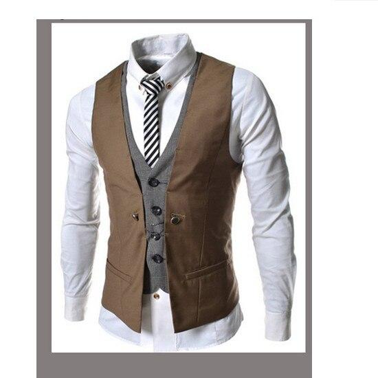 2016 бесплатная доставка новый плед смешанных цветов мужская тонкий свободного покроя жилет куртка 16