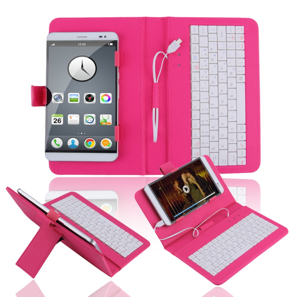 In stock! 7 inch Premium PU Leather Case Cover With USB Keyboard for Tablets/Phones 3 COLOR Newest