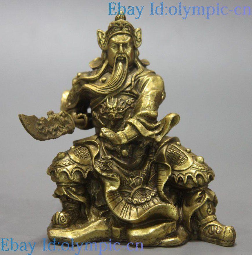 China brass guan gong sculpture dragon Martial god of wealth Guan Yu Statue China brass guan gong sculpture dragon Martial god of wealth Guan Yu Statue