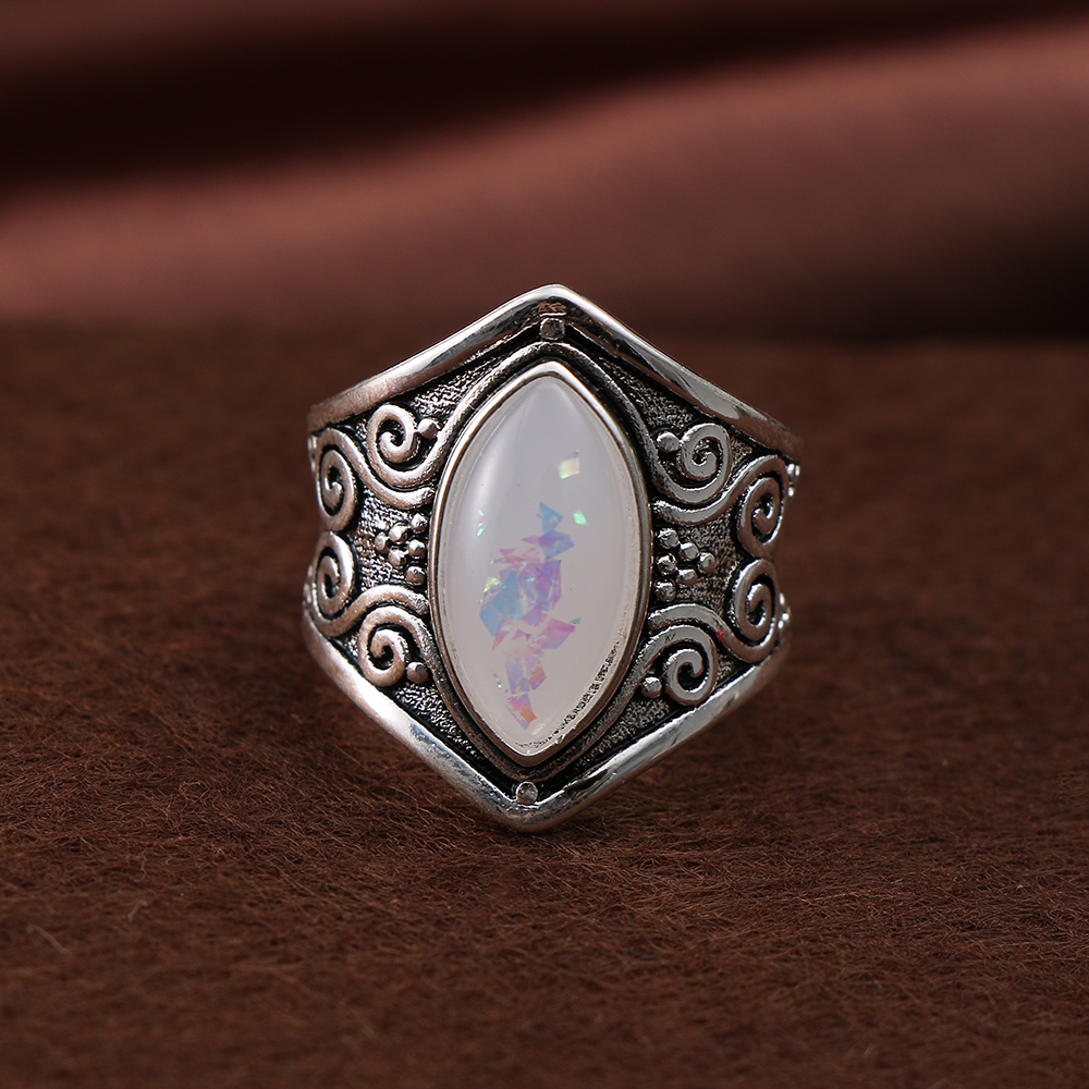 1PC 2018 Vintage Silver Big Stone Moonstone Ring For Women ...