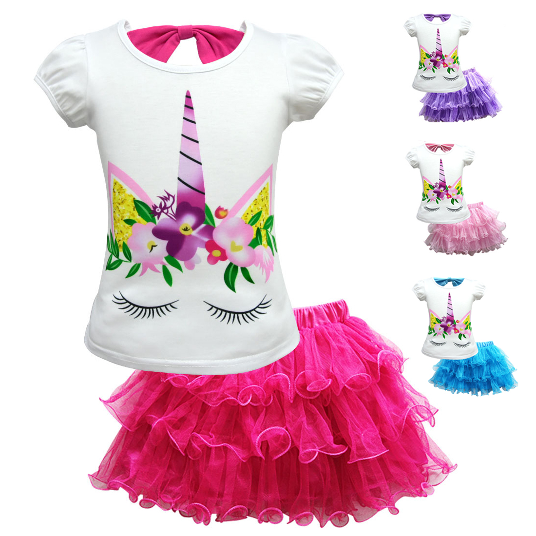 New Summer time Children Unicorn Go well with Women Boy Clothes Set Shorts + Tulle Tutu Skirt 2019 Children Informal Unicorn Cosplay Birthday Garments Clothes Units, Low cost Clothes...