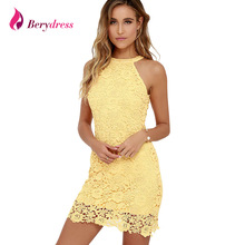 Berydress Womens Elegant Wedding Party Sexy Night Club Halter Neck Sleeveless Sheath Bodycon Lace Dress Short