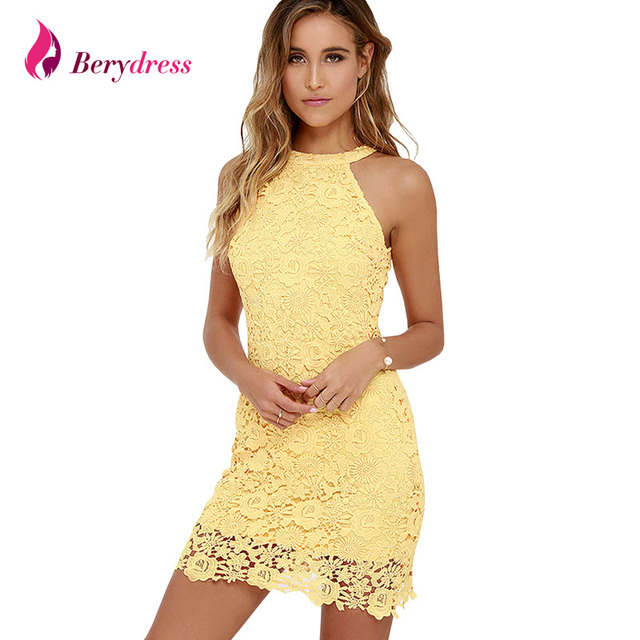 Womens Elegant Wedding Party Neck Sleeveless Sheath Bodycon Lace Dress Short