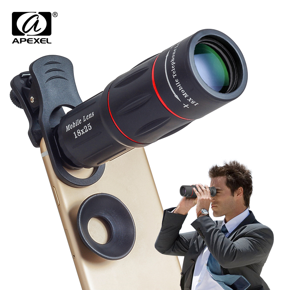 APEXEL Universal clips 18X Telescope Zoom Mobile Phone Lens for iPhone 7 8 Plus Samsung S8 Smartphones Camera Lenses with tripod