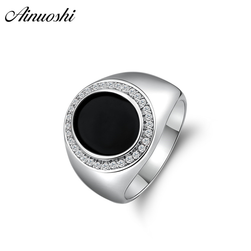 AINOUSHI 925 Sterling Silver Men Wedding Engagement Rings Black Oval Male Silver Accessaries Birthday Halo Rings