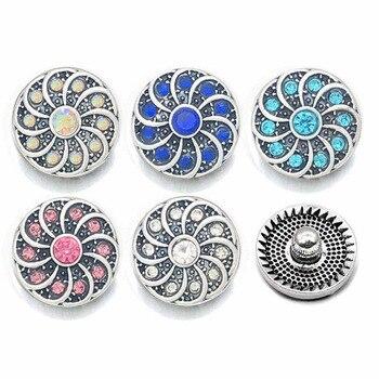 Hot Sale 054 Flower 3D 12mm Metal Snap Button For Bracelet Necklace Interchangeable Jewelry Women Accessorie Findings