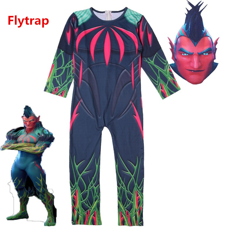 New Game Flytrap Cosplay Costume Children Kids Skin Zentai Jumpsuits Bodysuit Mask Party Halloween Suits Dropping