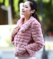 Fábrica atacado New casaco de pele, De mulheres elegantes coelho Rex casaco de pele, De FM004