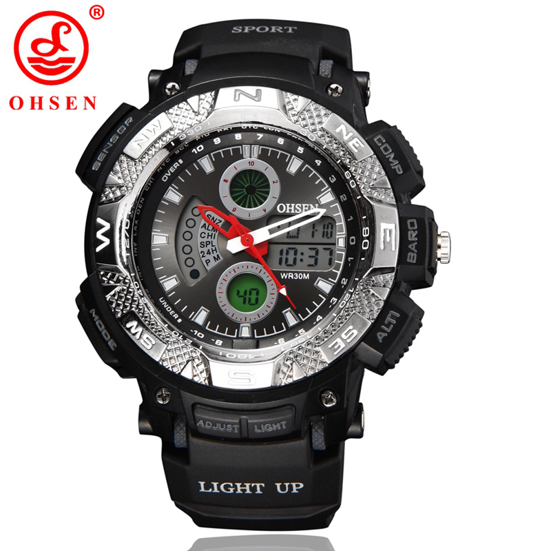 OHSEN Multifunction Led Sporty Watch Digital Waterproof 3ATM Men's Quartz Movement Analog Auto Date Man Wristwatches AD1310 men sports watches waterproof multiple time zone led quartz wristwatches silicone auto date back light ohsen brand watch ad2806