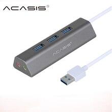 Acasis USB HUB 3,0 3 порта Мульти USB 3,0 концентратор разветвитель для ПК компьютерный хаб USB 3,0 с адаптером питания Поддержка гарнитуры микрофон