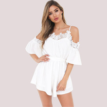 New summer Italian aristocratic temperament fashion personality sexy lace collar slim ladies jumpsuit