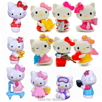 6pcs Hello Kitty Mini Model Set Miniature PVC Garden Figures Cartoon Figurines Dolls Cake Toppers Decor Kids Toys wholesale