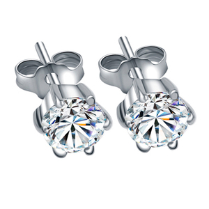 Image 2 - Classic Certified 1 CT Solitaire 18K Solid White Gold Moissanite Stud Earrings For Women Round Brilliant Cut VVS G H