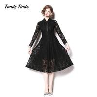 Fandy Finds Spring Ladies Dress Ribbon Black Lace Diffuser Women Party Dress Engagement Classic Banquet Girls Slim Dress