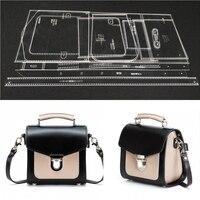 1set Diy Leather Handmade Craft Women Handbag Shoulder Bag Sewing Pattern Acrylic Stencil Template 18x18x12cm Pitch row 4mm