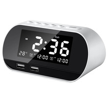 Mini Dual USB Rechargeable Wireless Radio with FM antenna Channel 87.5-108 mhz Smart Alarm Clock Radio with LCD Time Display ihome id95sz silver dual alarm with fm ipod