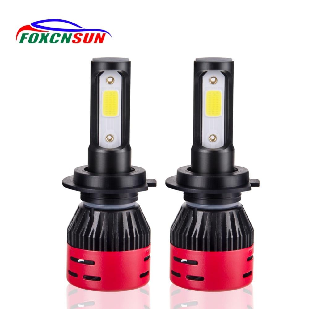 Foxcnsun H4 LED H7 H11 H8 HB4 H1 H3 HB3 H9 9005 9006 Auto mini Car Headlight Bulbs 72W 8000LM Car Styling 6500K led automotivo auxmart auto led h1 h3 9005 9006 h7 led headlight car lights 72w 6500k h8 led h11 fog lamps cob chips led h4 car bulbs t5 series