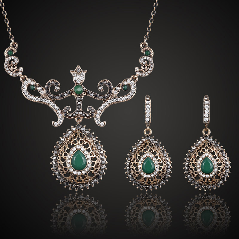 Green Resin Turkish Necklace Earring Jewelry Sets Fashion