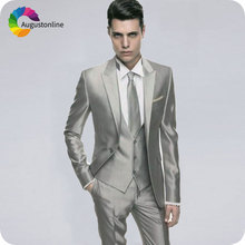 Italian Slim Fit Costume Homme Silver/Grey Mens Wedding Suits Peaked Lapel 3Pieces Groom Tuxedos Man Blazers Terno Masculino
