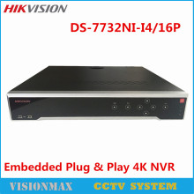 Hikvision 32CH 16 PoE NVR DS-7732NI-I4/16P 4K Playback 1080P Onvif HDMI Output H.265 Up to 4K ANR Alarm Recording at up to 12 MP