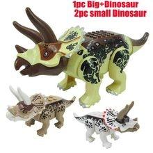 лучшая цена Jurassic World Dinosaurs Figures Bricks Tyrannosaurus Indominus Rex I-rex Assemble Building Blocks Kid Toy Dinosuar