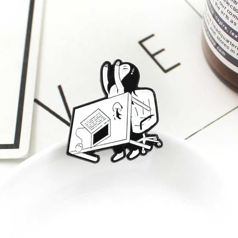 Sáng Tạo Văn Phòng Mệt Mỏi Cô Gái Đầm LO ÂU Tức Giận Cô Gái Bị Lật Bàn Máy Tính Cà Phê Men Lapel Pin Áo ba lô Huy Hiệu Quà Tặng