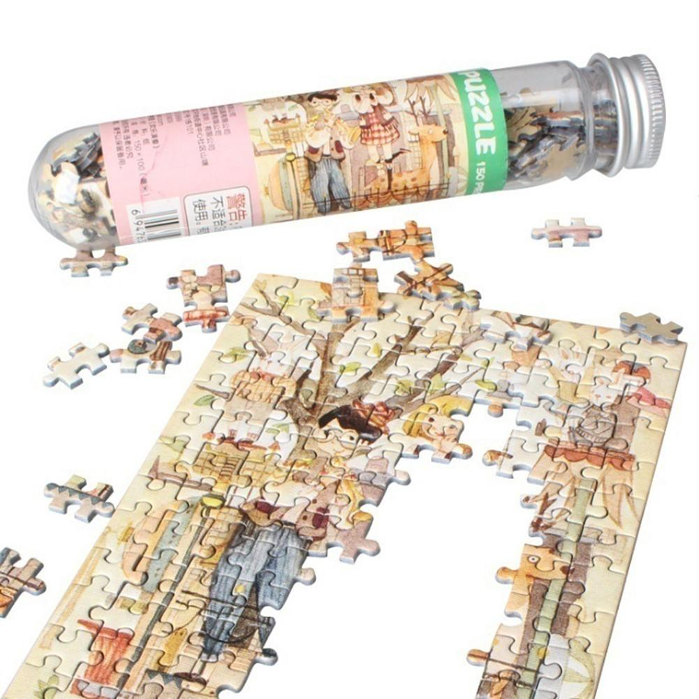 150Pcs/Set Mini Sunrise Jigsaw Puzzles With Tube Bottle Blueprint Baby Toys Montessori Wooden Puzzle Education Toys For Children
