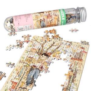 Image 1 - 150Pcs/Set Mini Sunrise Jigsaw Puzzles with Tube Bottle Blueprint Baby Toys Montessori Wooden Puzzle Education Toys for children