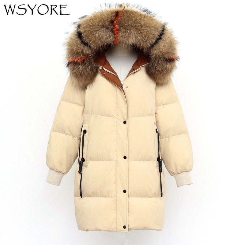 WSYORE Real Raccoon Fur Collar Hooded   Down     Coat   2018 New Winter Women Outwear Russian Mid-long Thick Jackets and   Coats   NS467