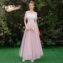 Its YiiYa Plus size Bridesmaid Dress Pink Spaghetti Strap Pleat Long Floor Length dresses Boat Neck Lace Up Party Gowns E125