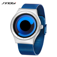 SINOBI Brand Fashion Quartz Watch Men Rotate Creative Design Blue Stainless Steel Mesh Strap Mens Watches